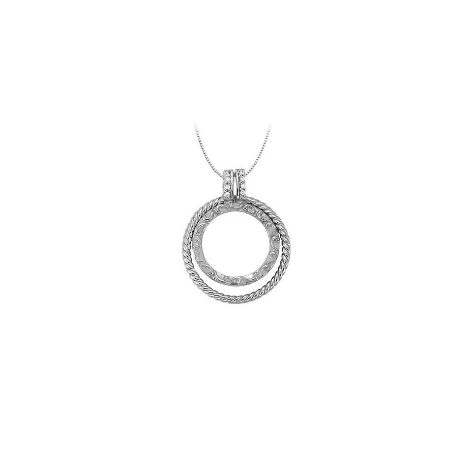 White silver cubic zirconia double circle pendant in sterling 005 marco b cubic zirconia double circle pendant in sterling silver 005 ct tgwjew aloadofball Choice Image