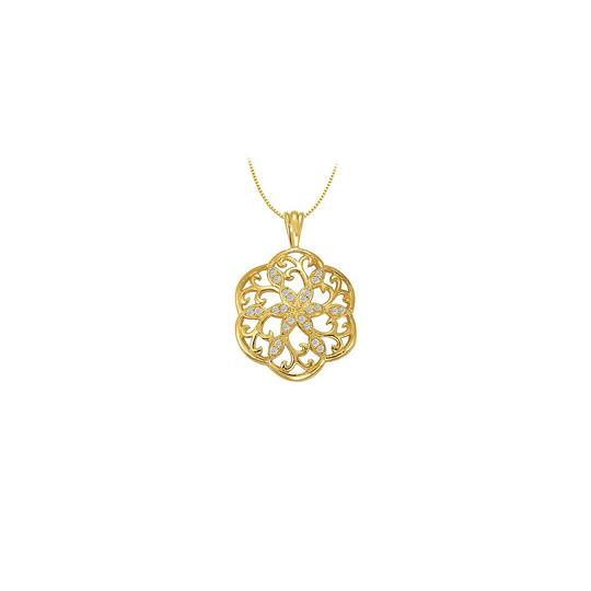 Preload https://img-static.tradesy.com/item/22545530/white-yellow-cubic-zirconia-fancy-circle-fashion-pendant-in-gold-vermei-silver-025-necklace-0-0-540-540.jpg