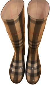 Burberry Waterproof Rainboots Stylish Plaid Classic HOUSE CHECK/BLACK Boots