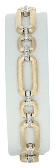 Wilson Brothers NEW-Diamond-Link-Bracelet-7-034-14k-Yellow-Gold-Matte-Finish-Rou Image 0
