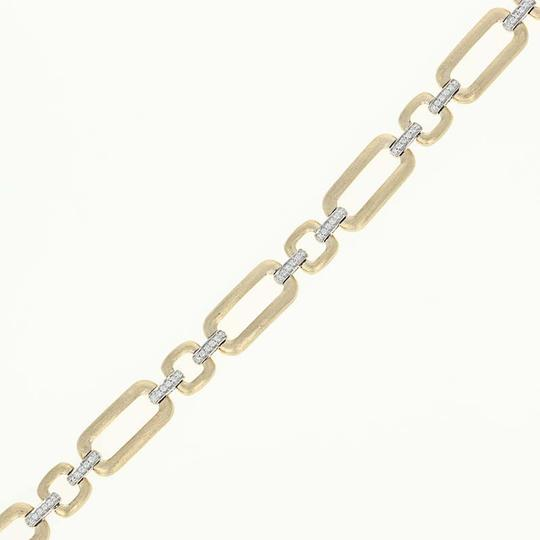Wilson Brothers NEW-Diamond-Link-Bracelet-7-034-14k-Yellow-Gold-Matte-Finish-Rou Image 1