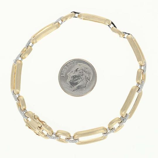 Wilson Brothers NEW-Diamond-Link-Bracelet-7-034-14k-Yellow-Gold-Matte-Finish-Rou Image 4