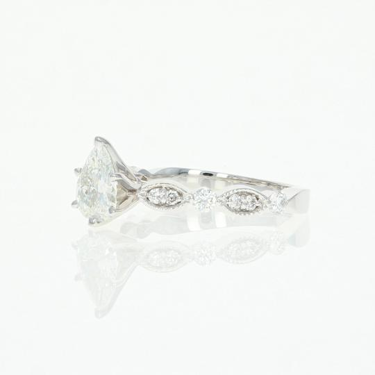 New Diamond - 14k White Gold Milgrain Gia Pear 1.02ctw Engagement Ring Image 1