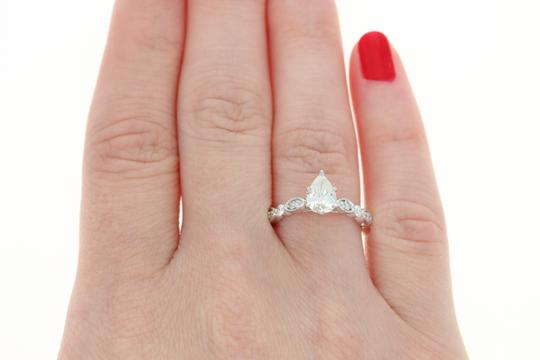 New Diamond - 14k White Gold Milgrain Gia Pear 1.02ctw Engagement Ring Image 5