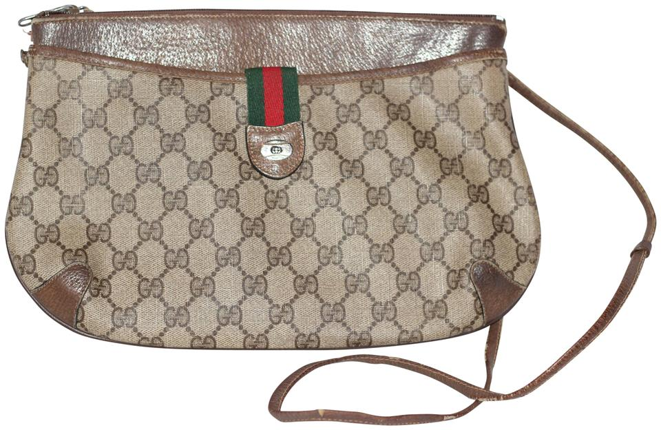 5d965283ea1a3b Gucci Clutch Iconic Gg Logo Crossbody / Brown Leather Shoulder Bag ...