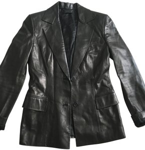 Gucci Jacket Leather Fitted Black Blazer