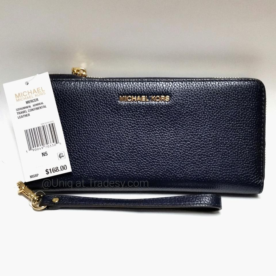 Michael Kors Admiral Blue Pebbled Leather Gold Hardware Travel Continental Zip Around Mercer Wristlet Bag Wallet 44% off retail