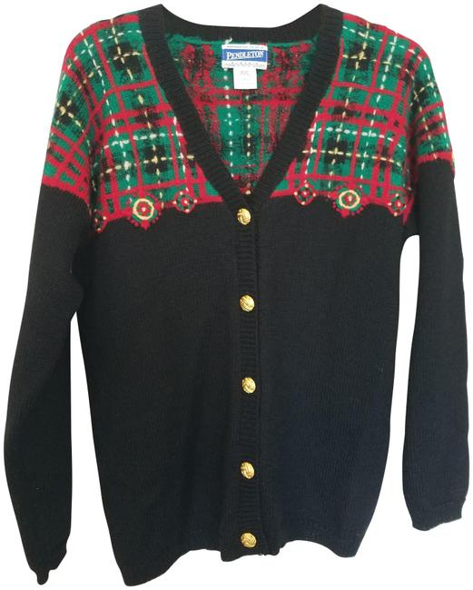 Pendleton Plaid Cardigan Black Red Green Sweater Pendleton Plaid Cardigan Black Red Green Sweater Image 1