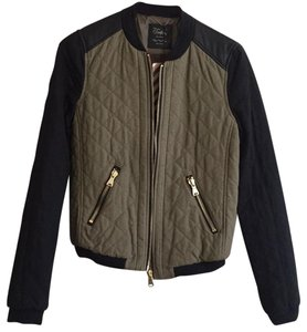 Zara Trafaluc Quilted Bowling Embroidered Faux Leather multi-color Jacket