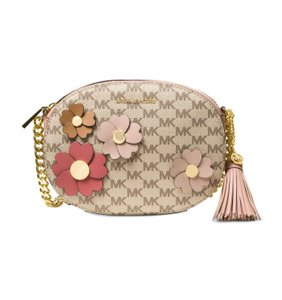 Michael Kors Signature Floral Applique Natural Fawn Messenger Bag