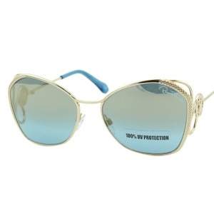 Roberto Cavalli New 2018 Gavorrano RC-1062 Gold Butterfly Mirrored Blue Sunglasses