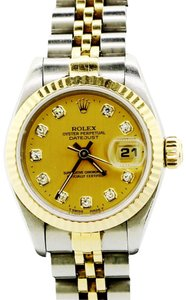Rolex Datejust 18KY Gold FlutedChampagne Dial Diamond Hr 26MM Ladies Watch