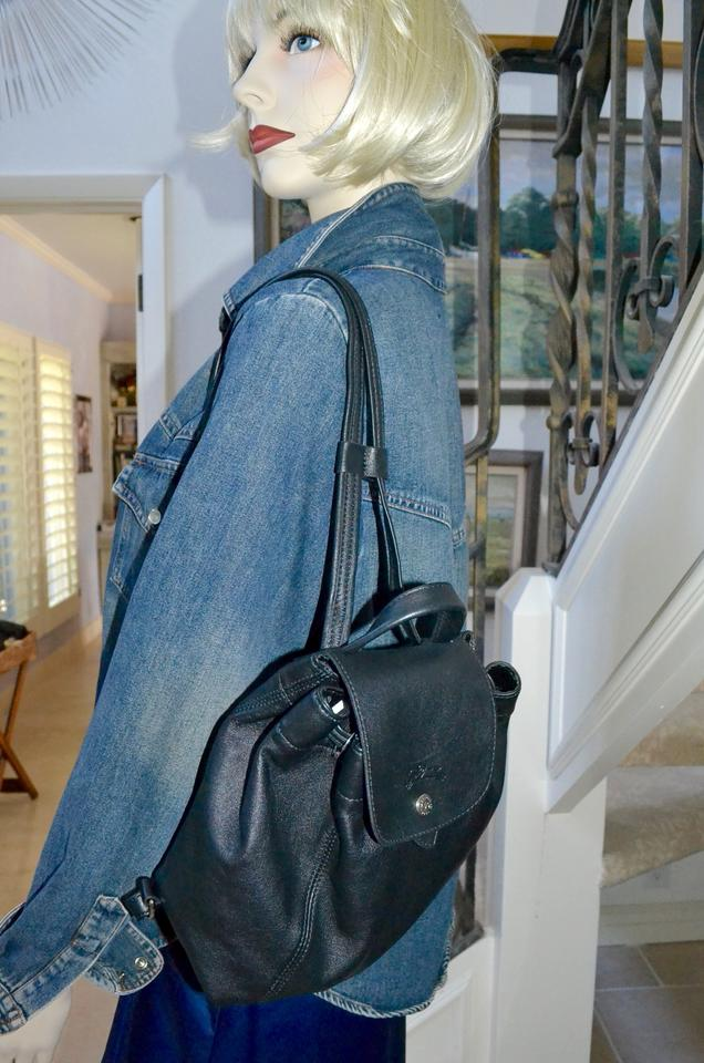be9b1744bc55 Longchamp Paris Le Pliage Cuir Small Black Leather Backpack 21% off retail