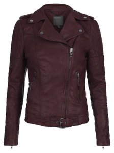 Muubaa Leather Biker Motorcycle Edgy Quilted Red Jacket