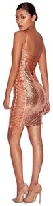 House of CB Laceup Tie Sequin Rosegold Dress