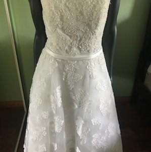 Galina White With Corset Formal Wedding Dress Size 12 (L)