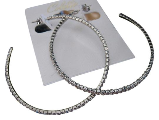 Colette Large Silver 2 inch Hoops with Swarovski Crystals