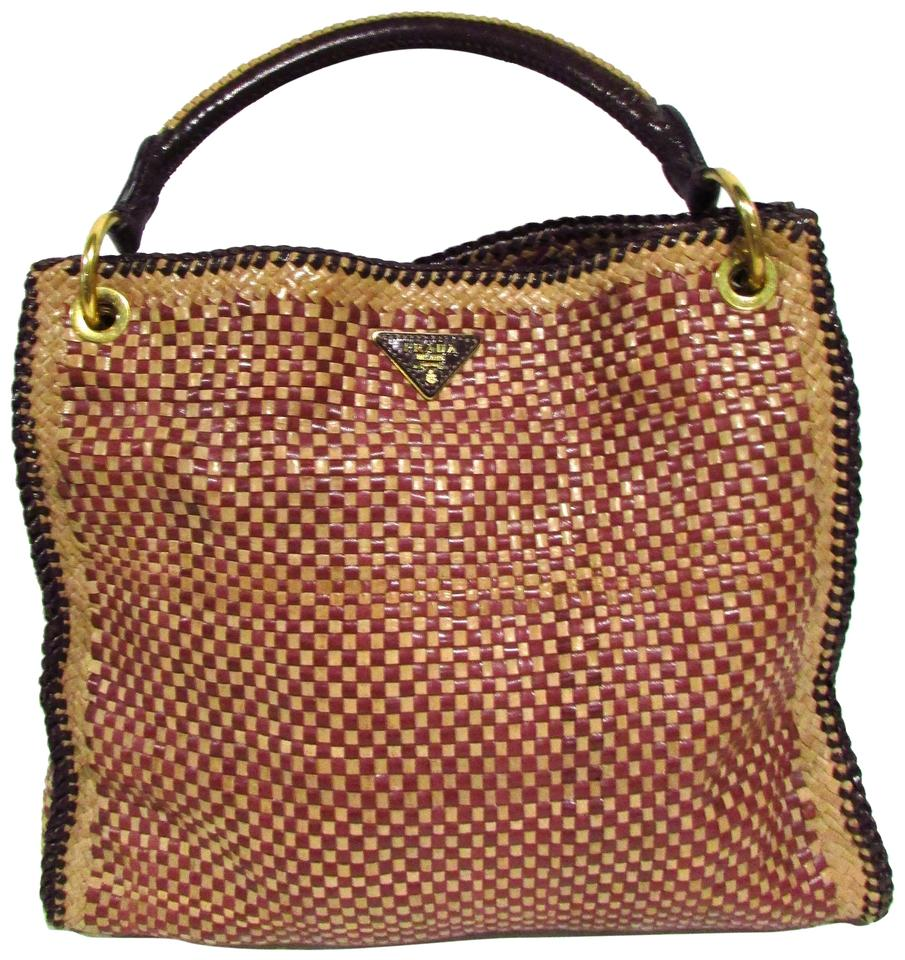 7c76ca390a Prada Red Beige Brown Leather Madras Hobo Bag - Tradesy