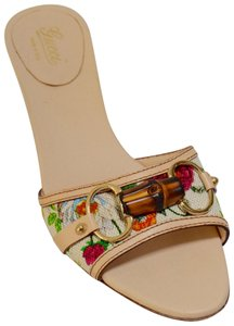 Gucci Made In Italy Stacked Kitten Hee All Leather Bamboo Floral Mules