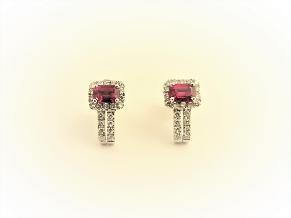 f37ca28178f436 Red Vintage 0.6 Ctw Sapphire Diamond Stud 18k White Gold Earrings Image 0  ...