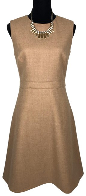 Item - Beige A Double Serge Wool Knee Length Tan Mid-length Cocktail Dress Size 4 (S)