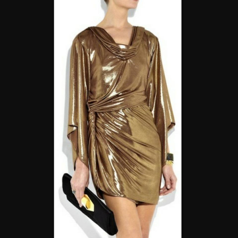 Halston gold lame cocktail dress size 6 s tradesy 12345678910 ombrellifo Choice Image