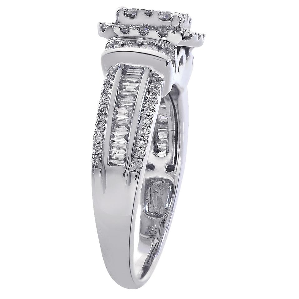 a33902708422b Avital & Co Jewelry White Gold 0.90 Carat Diamond Square Shaped Cluster  Halo 10k Ring 67% off retail