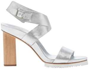 Halston Sexy Ankle Strap Leather Metallic Silver Sandals