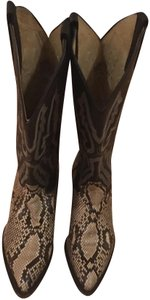 Panhandle Slim Natural/brown/black snake skin/very dark brown almost black leather with intricate cream stitching on shaft Boots
