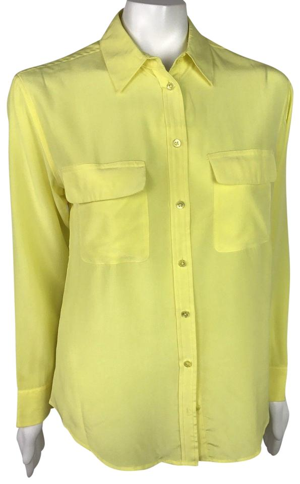 9d544a98bf7f6b Equipment Yellow Femme Small Long Sleeves Silk Shirt Butto Blouse ...