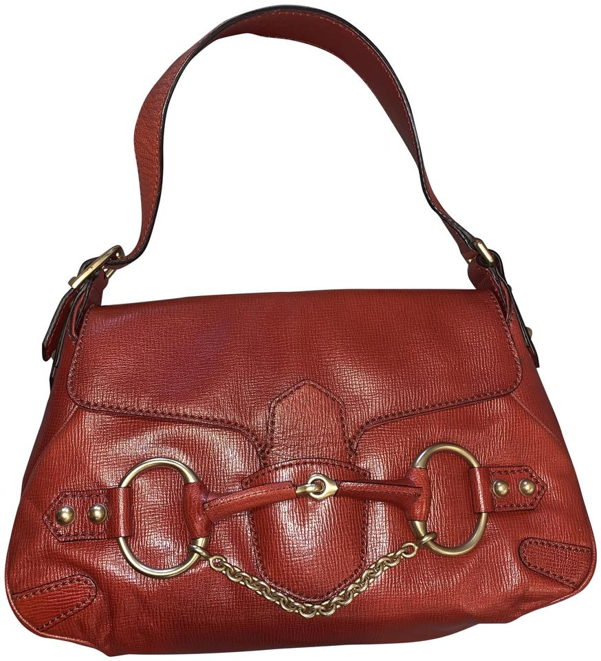 7bb6fe52c9ee1 Gucci Horsebit 4123 & Chain Tom Ford Era Red Leather Shoulder Bag