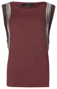 AllSaints Embellished Metallic Hardware Edgy Sleeveless Top Red