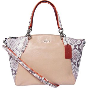 Coach Kelsey Pebbled Leather Crossbody 57849 Satchel in SILVER/NUDE PINK MULTI