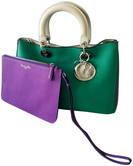 Item - issimo Green&purple Lambskin Leather Tote