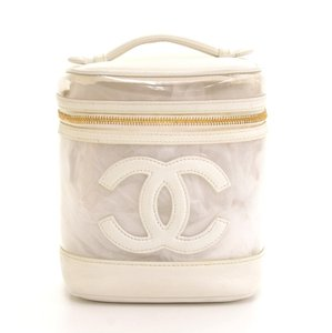 Chanel Chanel Vanity White Leather x Vinyl Cosmetic Hand Bag CF766