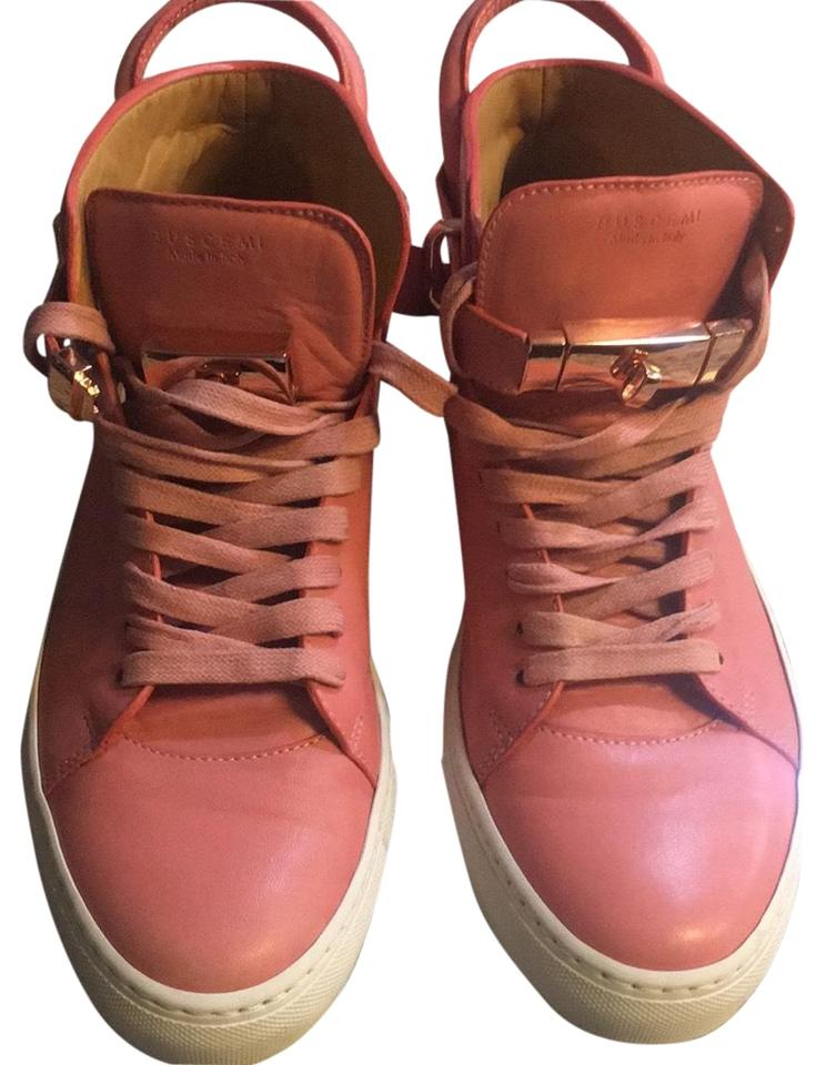 c4f0321cc4e9 Buscemi Pink and White with Gold Buckle 100mm Sneakers. Size  EU 43 ...