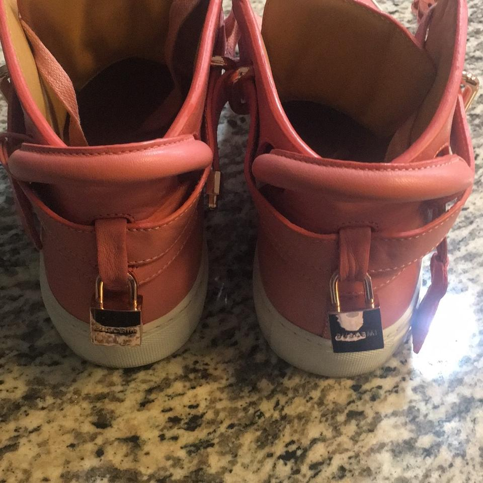 60552889b350 Buscemi Pink and White with Gold Buckle 100mm Sneakers Size EU 43 ...