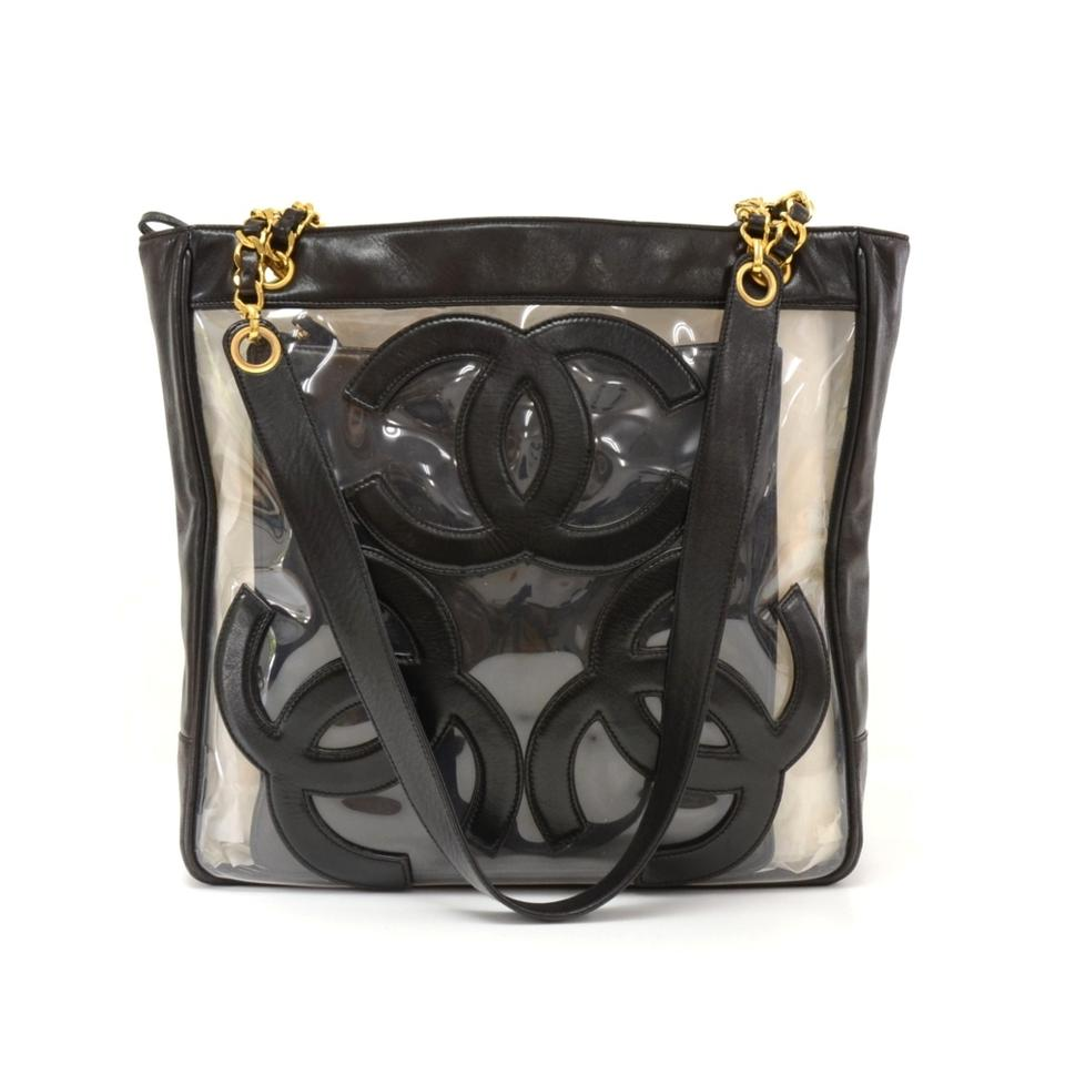 Chanel Vinyl Transparent Leather Cc Logo Chain Tote In Black And White