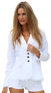 Lirome Bohemian Country Cottage Summer Spring White Womens Jean Jacket