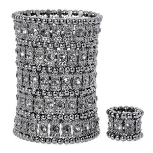 Silver Or Black Multilayered Crystal Stretch Cuff Ring Set Bracelet