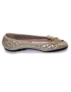 Paul Mayer Quilted Beige/Gold Flats