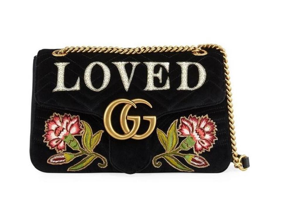 e4bc538aabdbdc Gucci Marmont Gg Loved Floral Embroidered Velvet Shoulder Bag - Tradesy