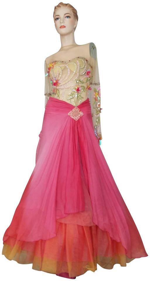 Pink Nude Yellow Green Alberto Makali Pageant Prom Beaded Colorful ...