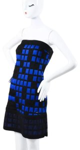 Chanel chanel black& blue knit checkered strapless dress