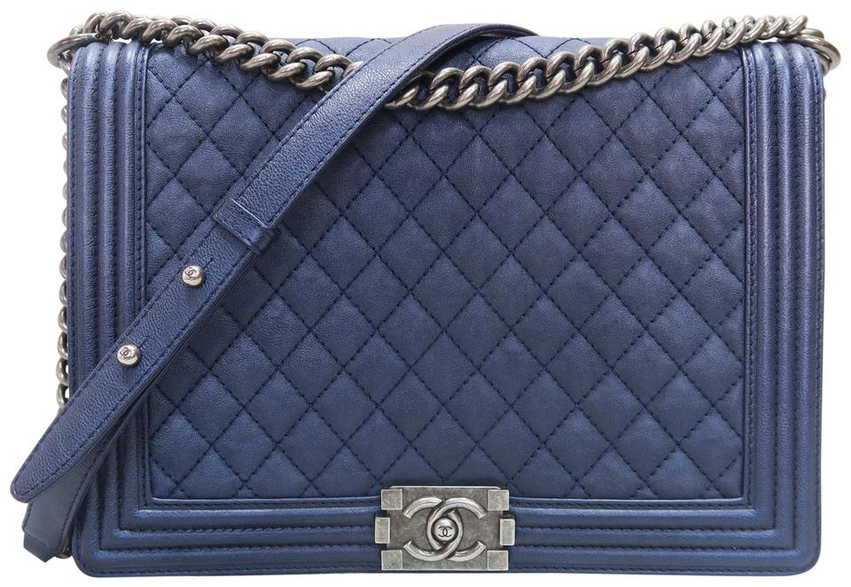 139eab1f181367 Chanel Boy Large Le Darkblue Calfskin Shoulder Bag - Tradesy