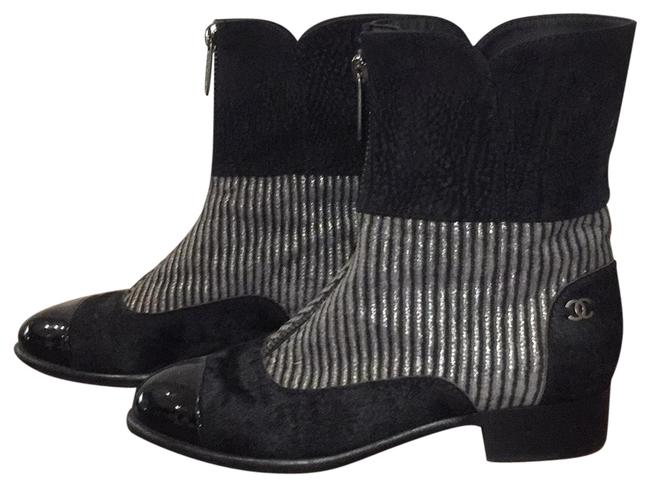 Item - Black and Silver Flat Boots/Booties Size US 8.5 Wide (C, D)