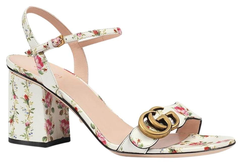 ce71685a605a Gucci White Marmont Gold Floral Ivory Ankle Strap Block Heel Sandal ...