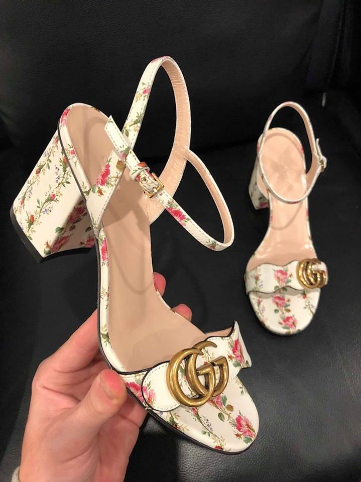 caa4a4a3b Gucci White Marmont Gold Floral Ivory Ankle Strap Block Heel Sandal Pumps  Size EU 38.5 (Approx. US 8.5) Regular (M, B) - Tradesy