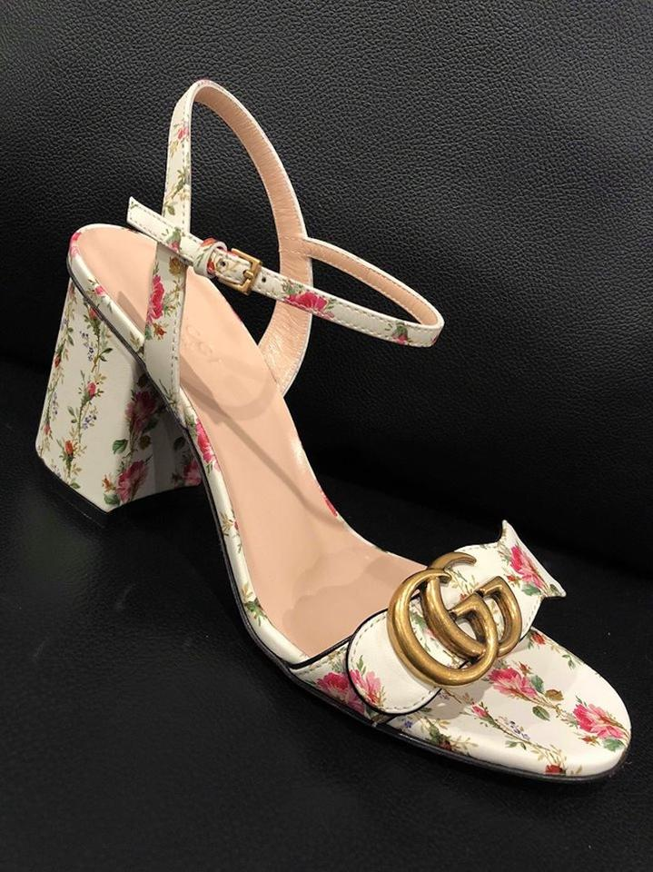 091847fd6 Gucci White Marmont Gold Floral Ivory Ankle Strap Block Heel Sandal ...
