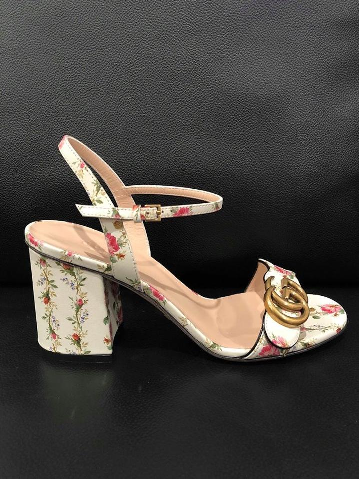 d9446d98a Gucci White Marmont Gold Floral Ivory Ankle Strap Block Heel Sandal Pumps  Size EU 38.5 (Approx. US 8.5) Regular (M, B) - Tradesy